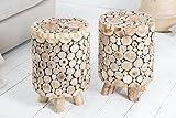 DuNord Design Hocker Massiv Teak Holz CUBIX 45cm Holz Sitzhocker Beistelltisch Pflanzentisch