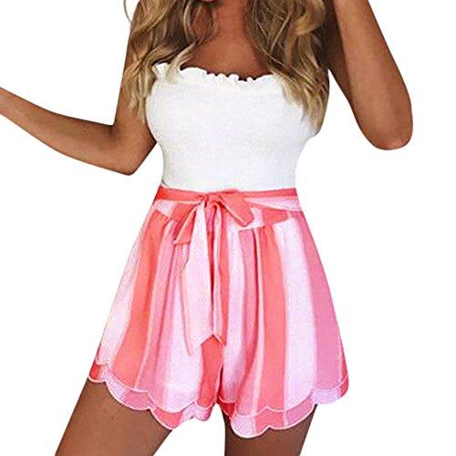 Lonshell Damen Chiffon Shorts Gestreifte Kurz Hose Beach Sommerhosen mit Elastischem Taillenband High Waist Sporthosen Hotpants Strandshorts -