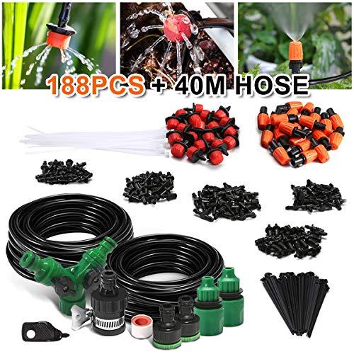 NASUM Bewässerungssystem Garten, 40M Micro Drip Bewässerung, Bewässerung verstellbar Zerstäuberfunktion Kits, DIY Pflanzen Gartenschlauch Automatische Kits für Blumen, Pflanzen, Bonsai(188pcs+40M)