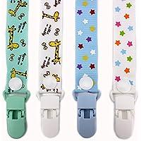 RUBY - Pack 4 Chupeteros de Colores Diferentes. Cadena Chupete Bebé con botón fijo adjustable