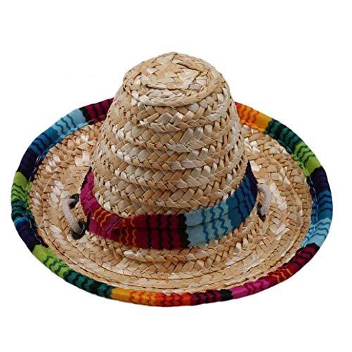Kostüm Der Katze Hut Auf - Beito Mexican Hat Straw Sombrero Pet Schnalle Multicolor Pet Stroh Hund Katze Hut