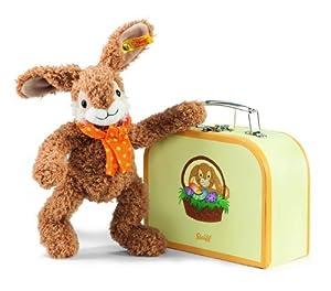 Steiff 113499 Jolly - Liebre de Peluche en maletín de Regalo (26 cm), Color marrón