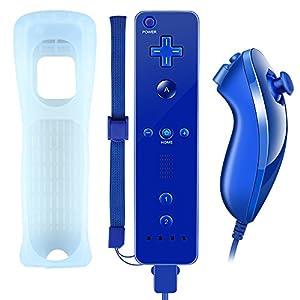 Althemax WII-Controller, WII Fernbedienung und Nunchuk mit Silikonhülle Handschlaufeeingebauter Vibrationsmotor für XW02 Nintendo WII und WII U Dunkle Blau (Drittanbieter Produkt)