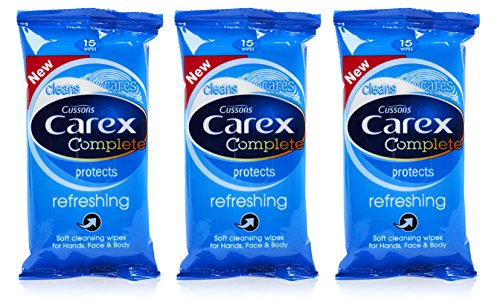 3x Cussons CAREX Refreshing Cleansing WIPES Hand Face & Body 15's Pocket Travel by Carex