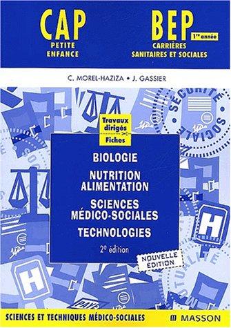 Travaux dirigés : Biologie, nutrition-alimentation, sciences médico-sociales, technologies 1e année (bleu)