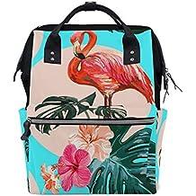 ALINLO - Bolso para pañales con diseño de flamenco tropical, gran capacidad, multifunción,