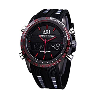 AJS Men's Military Sports,Dual-Display Functionality Quartz Wrist Watch,Waterproof 100 FT