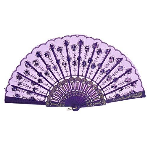 FiedFikt Elegante Handfächer Handfächer Handfächer Handfächer Handarbeit Geschenke für Tanz, Hochzeit Party - Chinesisch/Japanischer Tanz Spitze Rand Seide Faltfächer Serie B, violett -