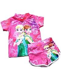bb6a583803421 UK Seller Girls Swimwear Frozen Elsa Anna Two Piece Set Pink T Shirt and  Shorts Swimming Costume Swimsuit…