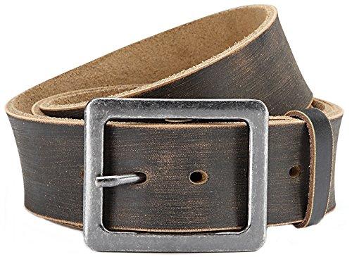 Stylischer Jeans-Gürtel Herren Leder Gürtel im Used Look 4,5 cm Breite- Massige Schnalle im Used Look (Bundweite: 95cm = Gesamtlänge: 110cm, Grau/ Schwarz)