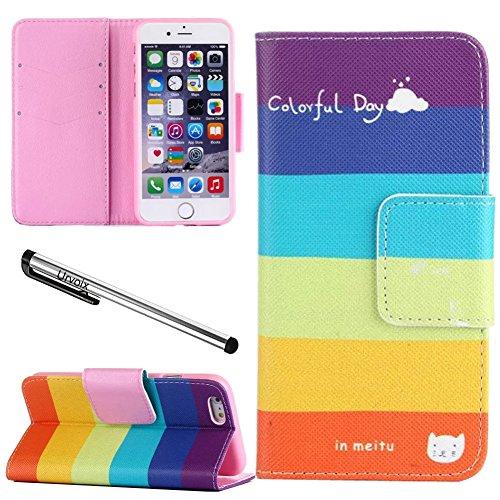 Urvoix per iPhone 6Plus/6S Plus 5.5, arte Premium in pelle w/slot card, contanti cartella, Arcobaleno Colorato, a portafoglio stand cover iphone6plus/6Splus (non per iPhone 6)