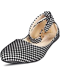 Royal Collection Synthetic Black and White Checkered Ballerinas Juttis for Women's and Girls.