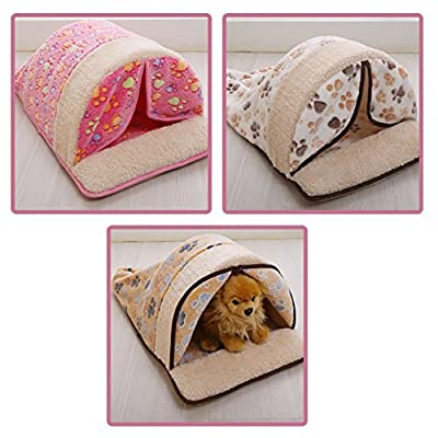 CreaTion® Cute Warm Soft Fleece Pet Kennel Bed With Curtain Sleeping Bag Design With Paw Print For Small Cats And Dogs