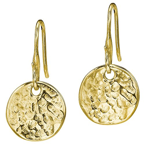 dower-hall-nomad-yellow-gold-plated-on-sterling-silver-beaten-flat-disc-drop-earrings-of-length-25cm