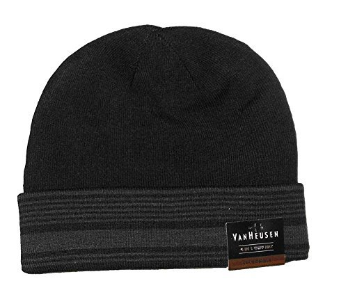 Van Heusen Men Reversible Knit Beanie 4 in 1 Cuff Hat Striped Black One Size (Knit Mens Reversible)