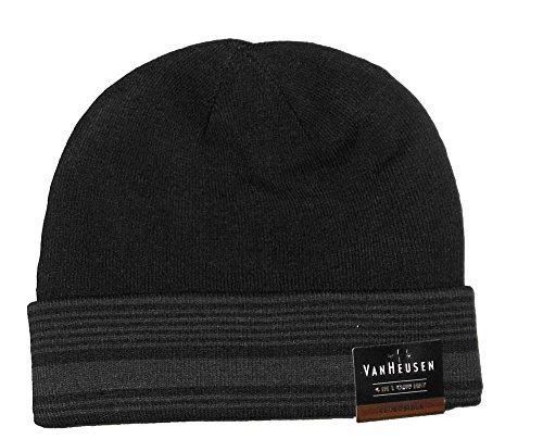 Van Heusen Men Reversible Knit Beanie 4 in 1 Cuff Hat Striped Black One Size (Mens Knit Reversible)