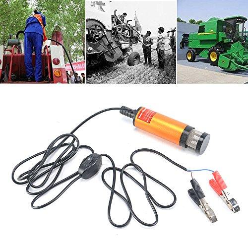 JUEYAN 12 L/min Dieselpumpe Selbstansaugend Diesel Kraftstoff Wasserpumpe Kraftstoffpumpe Aluminium Wasser Pumpe Tauchpumpe Heizölpumpe Ölpumpe 12V für Auto LKW