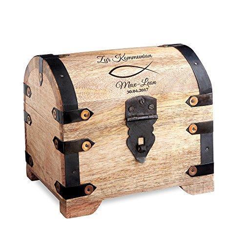 Casa Vivente Große Schatztruhe mit Gravur - Zur Kommunion - Motiv Fisch - Personalisiert mit Namen und Datum - Helles Holz - Verpackung für Geldgeschenke - Geschenkideen zur Erstkommunion