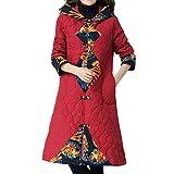 UJUNAOR Frauen Graben Mantel Schlank Winter Lange Ethnische Windjacke aus Baumwolle mit Kapuze(Rot,CN L)