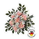 artplants Künstlicher Rosenstrauß Amelie mit Schleierkraut und Blättern, Rosa, 70 cm, Ø 35 cm - Kunst Strauß/Deko Blumenstrauß