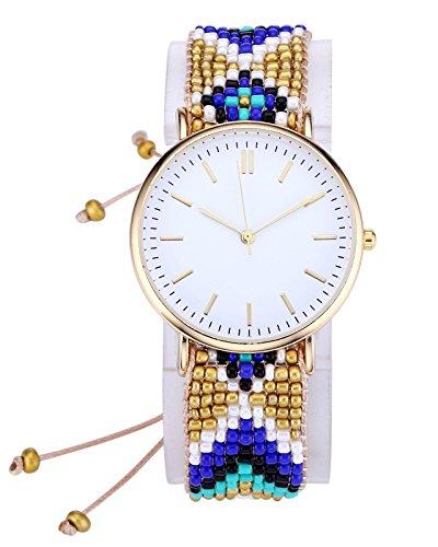 0c0470b69143e6 JSDDE Damen Mädchen Armbanduhr Strand Boho-Stil Armreif Uhr Bunt Perlen  Geflochte Band Qaurz Uhr