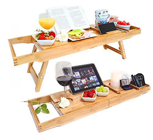 Kalewun Premium 2 in 1 Bambus Badewannen Caddy & Laptop Brücke fürs Bett / Ausklappbare...