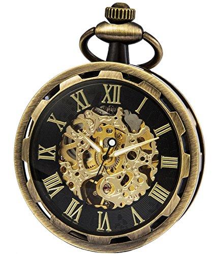 SEWOR 2017 New Design Single Face Mechanical Hand Wind Pocket Watch Full Gold Tone (Gold Black)