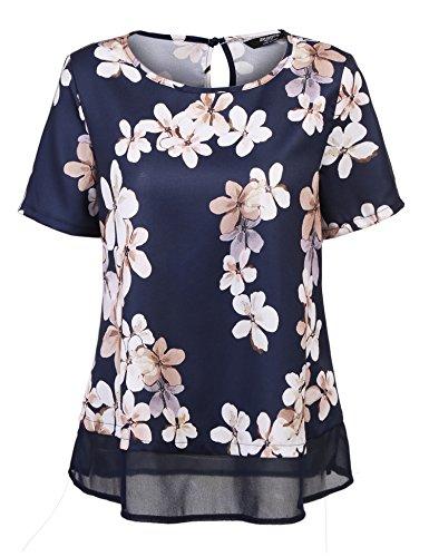 Parabler Damen Blumenmuster Chiffon Shirt Bluse Tunika Kurzarm Blumendruck Casual Tops Oberteil