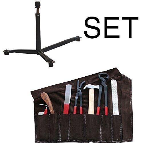 Reitsport Amesbichler Hufbeschlag Set Garnitur mit Lederetui und Hufbock | Hufschmiedebock und Hufwerkzeug Set | Hufpflegeset