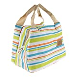 Magideal Thermal Insulated Lunch Box Tote Cooler Bag Stripe Bento Pouch Green