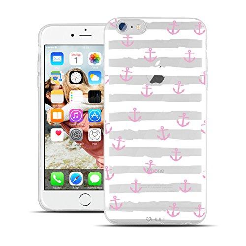 HULI Design Case Hülle für Apple iPhone 6 / 6s Handy im rosa Anker Design - Handyhülle aus TPU Silikon - Schutzhülle klar im maritim Muster Kreuzfahrt Anchor - Transparent & slim für dein Smartphone