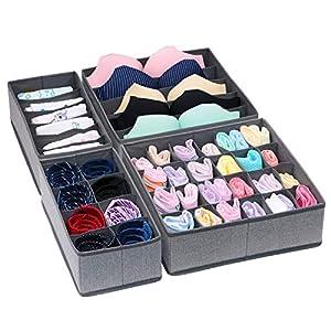homyfort Faltbare Aufbewahrungsbox für Schublade Organizer Schrank Trennfächer, Büstenhalter Unterwäsche Schubfach, 4er Set, Grau Leinen, XDSS4P