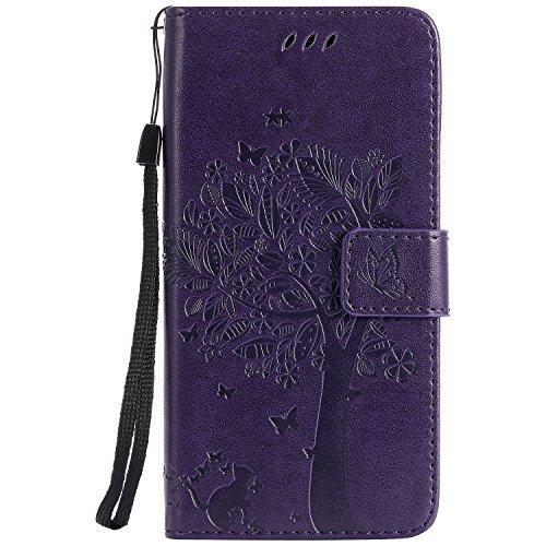 NEXCURIO Samsung Galaxy Xcover 4/G390F Hülle Leder, Handyhülle Tasche Leder Flip Case Brieftasche Etui mit Kartenfach Stoßfest Kratzfest Schutzhülle für Samsung Galaxy Xcover4 - EKTU103622 Violett