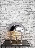 Newroom Design Papier-peint motif pierre blanc | Tapisserie murale effet pierre | Design 3D de style moderne pour un salon, une chambre ou une cuisine avec la brochure Newroom, conseils pour des murs parfaits