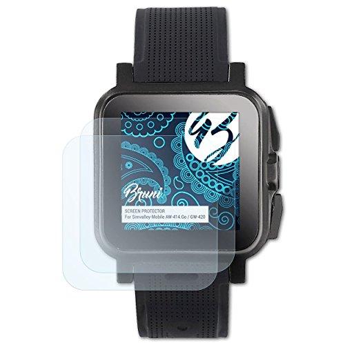 Bruni Schutzfolie für Simvalley-Mobile AW-414.Go/GW-420 Folie, glasklare Bildschirmschutzfolie (2X)
