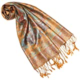 Lorenzo Cana Luxus Seidenschal für Frauen Schal 100% Seide gewebt Damenschal elegant Paisley Muster Mehrfarbig, Braun-mehrfarbig, 35 x 160 cm