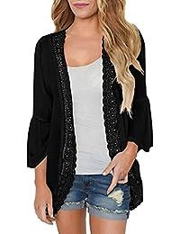 740a54ba7a0a7a ABCone-Donna Pullover Felpa Cardigan Kimono in Pizzo Solido T-Shirt Maniche  Lunghe Elegante