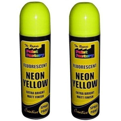 2-x-yellow-fluorescent-neon-spray-paint-matt-diy-interior-exterior-bright-colour-aerosol
