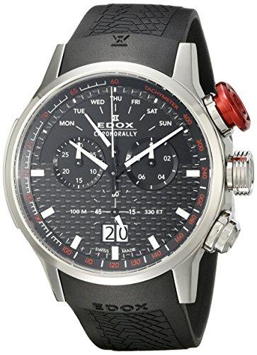 Edox Men's Chronorally 48mm Black Rubber Band Swiss Quartz Watch 38001 TIN NIN