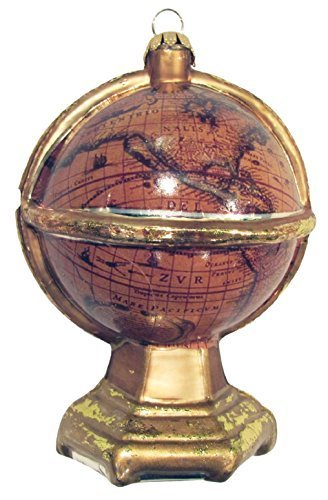 Old World Globe Antiqued Gold Christmas Holiday Glass Ornament by Christmas By Krebs (Old Globe World)