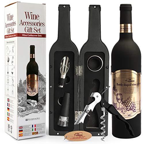 Yobansa Ensemble d'accessoires pour Le vin en Forme de Bouteille de vin,Ensemble d'ouvre vin Comprend Tire-Bouchon à vin,Bouchon à vin,verseur pour Le vin (Bottle 02)