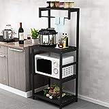 Küchenboden Regal Mehrschichtige Energiesparende Ofenschale Regallager (Ohne Küchenutensilien),Black