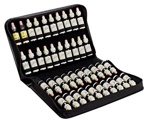 offro Taschenapotheke für 40 Bachblüten aus schwarzem Leder, 300 g