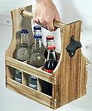 SIDCO ® Flaschenträger mit Flaschenöffner Holz Flaschenhalter Bierträger Flaschenkorb - 3