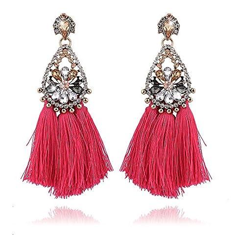 truecharms Pairs of Long Tassel Earrings Crystal Drop dangle Earrings
