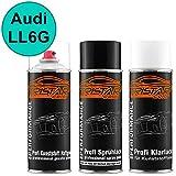 TRISTARcolor Autolack Spraydosen Set für Kunststoff Stoßstange Audi LL6G Tuerkis/Turkis Haftgrund Basislack Klarlack mit Weichmacher Sprühdose