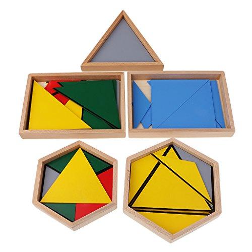 FLAMEER Juegos Educativos Montessori Geometría Triángulos Matemáticas -Triángulos Constructivos Puzzles Construcción Temprana para Niños Bebé