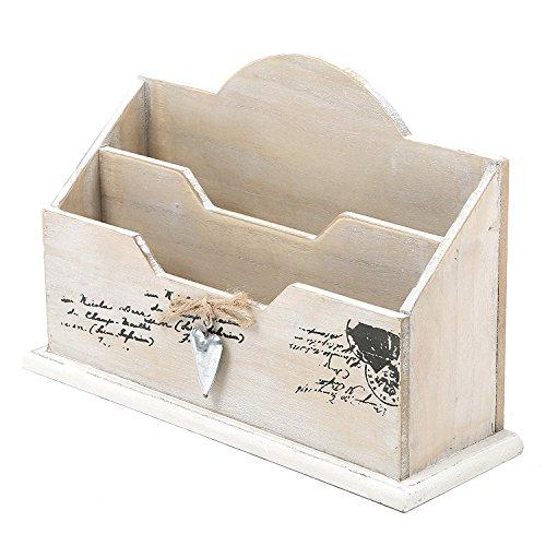 MyGift weiß gekalktem Holz Mail Sortiermaschine, rustikal 2fach Buchstabe Organizer - Antik-weiß, Rustikales Holz