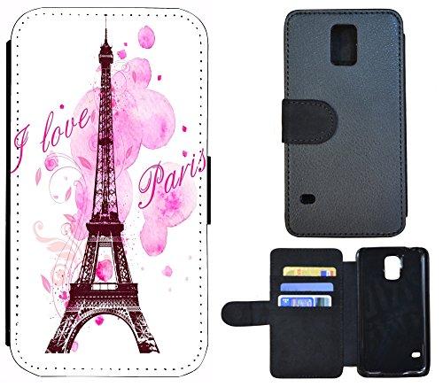 Schutz Hülle Flip Cover Handy Tasche Etui Case für (Apple iPhone 5 / 5s, 1072 Totenkopf Carton Basecap) 1078 Eifelturm Paris Frankreich Rosa Pink