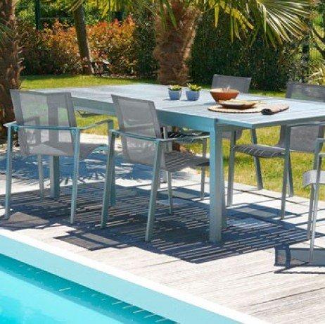 DCB Table Orlando avec rallonge Automatique, en Aluminium - 6 fauteuils empilables